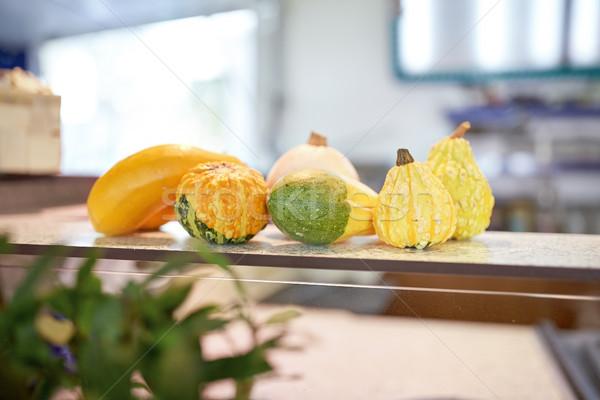 pumpkins on stall Stock photo © dolgachov