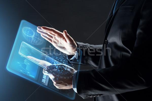 Stock fotó: Közelkép · üzletember · átlátszó · táblagép · üzletemberek · jövő