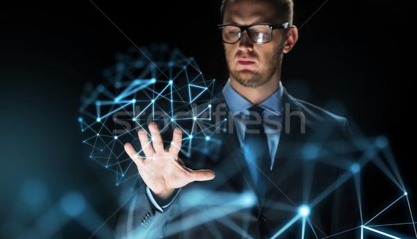 Geschäftsmann anfassen Projektion Geschäftsleute Zukunft Stock foto © dolgachov