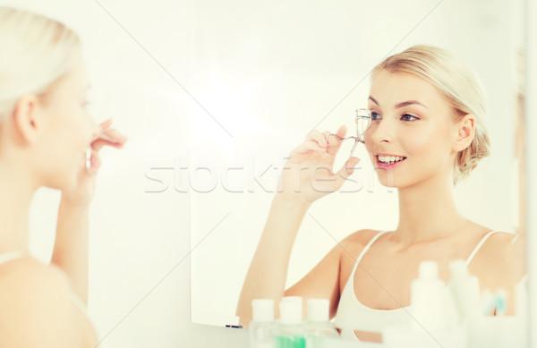 Nő szempilla fürdőszoba szépség smink kozmetika Stock fotó © dolgachov
