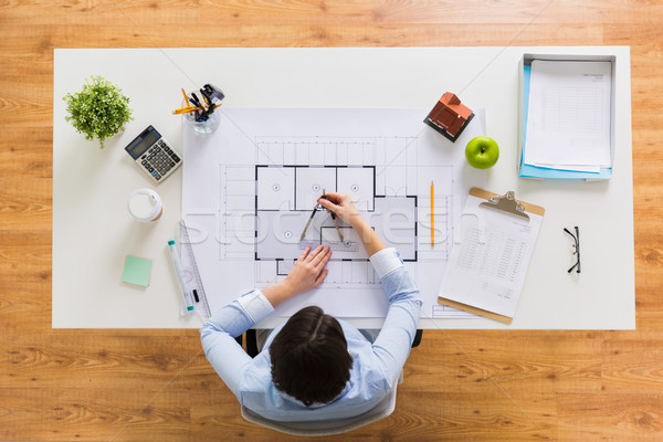 architect with compass measuring blueprint Stock photo © dolgachov