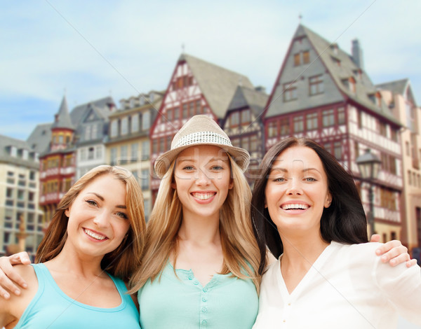 happy women over frankfurt am main background Stock photo © dolgachov