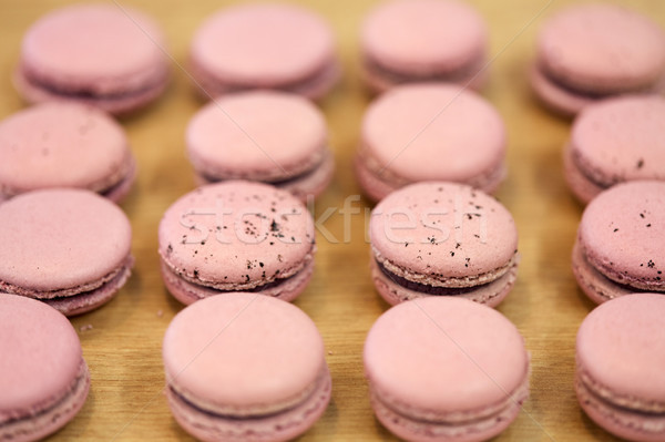 Macarons Tabelle Süßwaren Bäckerei Kochen Stock foto © dolgachov