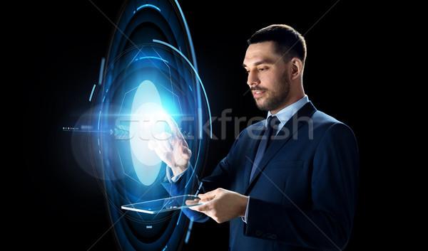 Empresário virtual projeção pessoas de negócios realidade Foto stock © dolgachov