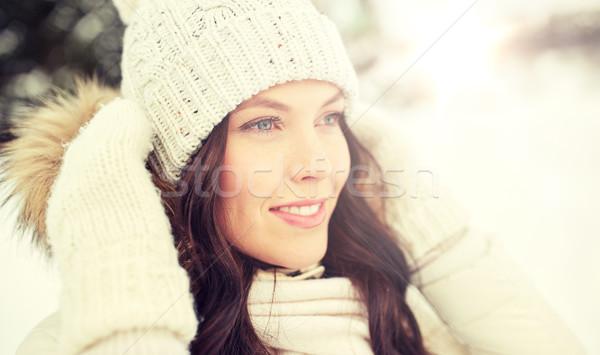 Felice donna esterna inverno persone stagione Foto d'archivio © dolgachov