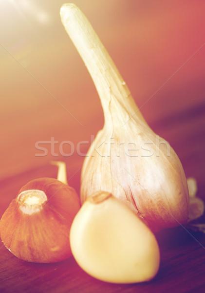 Alho mesa de madeira saúde comida cozinhar Foto stock © dolgachov