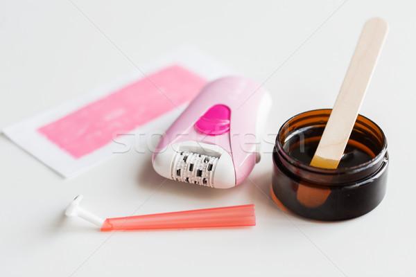 Veiligheid scheermes haren verwijdering wax Stockfoto © dolgachov