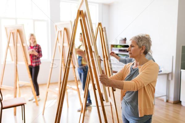 Művész festőállvány ceruza rajz művészet iskola Stock fotó © dolgachov