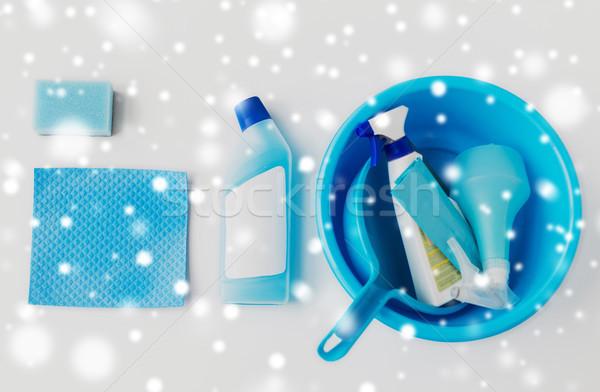 basin with cleaning stuff on white background Stock photo © dolgachov