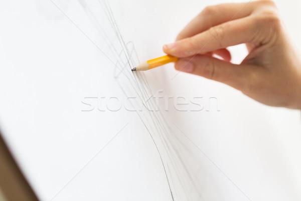 Kunstenaar potlood tekening foto kunst studio Stockfoto © dolgachov