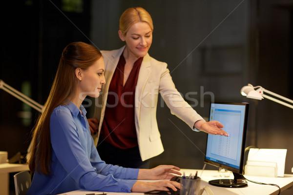 Işkadınları bilgisayar çalışma geç ofis iş Stok fotoğraf © dolgachov