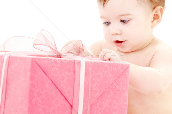 baby boy with gift box #2 Stock photo © dolgachov