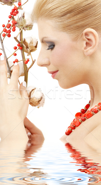 red ashberry girl in water #2 Stock photo © dolgachov