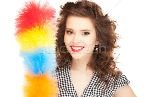 beautiful woman with cleaning sweep Stock photo © dolgachov