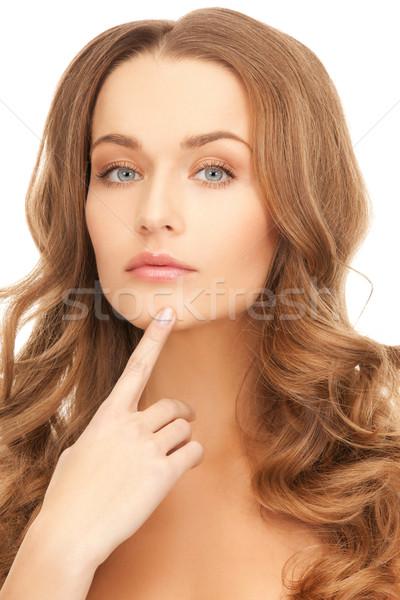 Donna punta mento foto bella donna mani Foto d'archivio © dolgachov