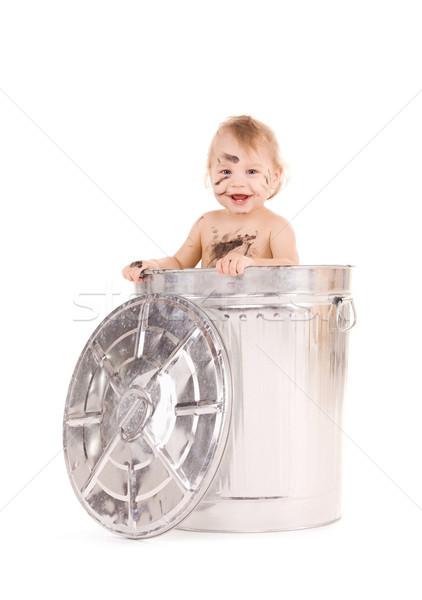 ребенка мусорное ведро фотография прелестный ребенка мальчика Сток-фото © dolgachov