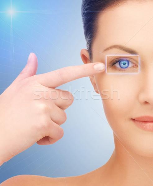 Bela mulher indicação olho quadro mulher cara Foto stock © dolgachov