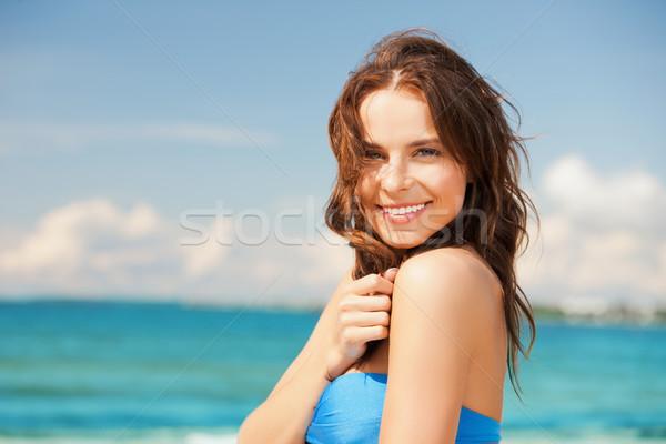 Stockfoto: Vrouw · bikini · glimlachend · mooie · vrouw · strand