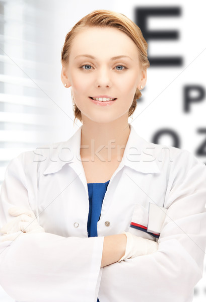 female ophthalmologist with eye chart Stock photo © dolgachov