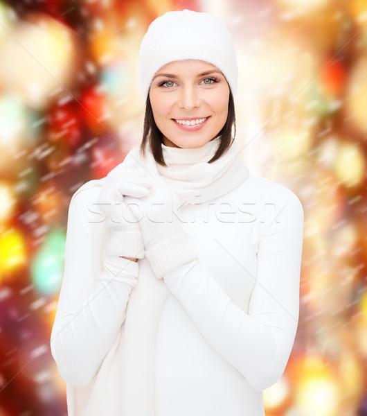 Vrouw hoed handschoenen winter mensen Stockfoto © dolgachov