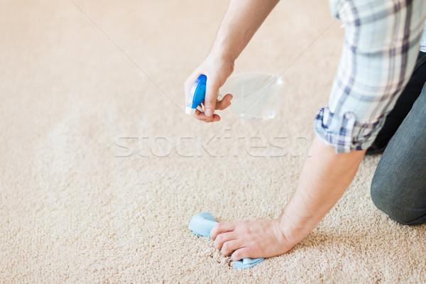 Mannelijke schoonmaken vlek tapijt home Stockfoto © dolgachov