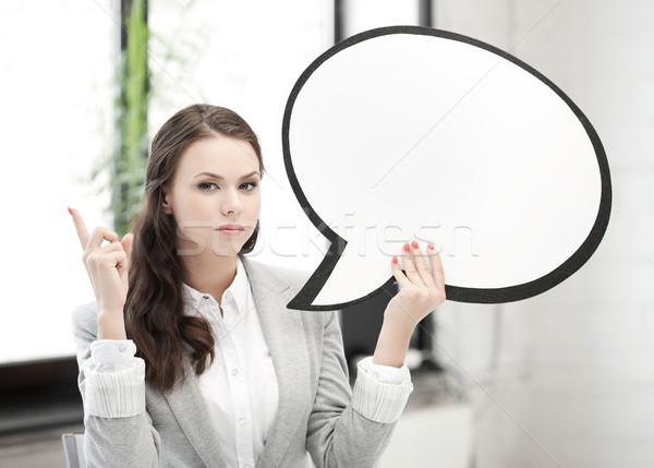 Foto stock: Mujer · de · negocios · texto · burbuja · senalando · dedo