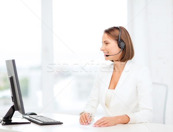 Barátságos női segélyvonal kezelő számítógép üzlet Stock fotó © dolgachov