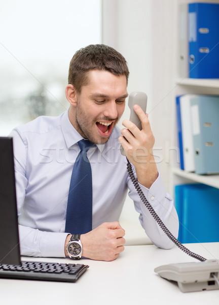 Foto stock: Gritando · empresário · estudante · computador · escritório · negócio