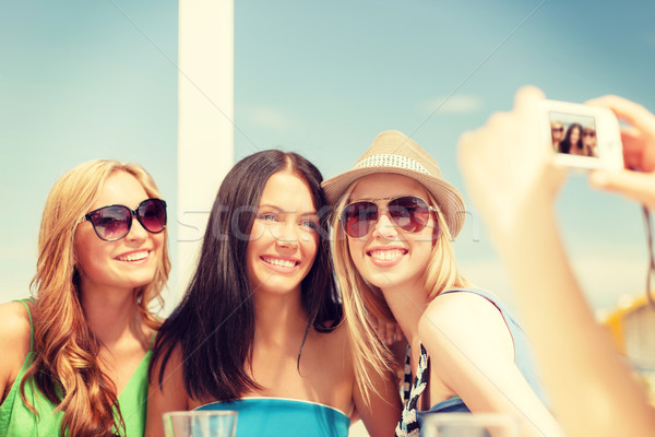girls taking photo with digital camera in cafe Stock photo © dolgachov