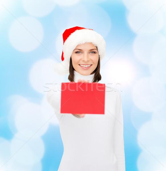 Kadın yardımcı şapka kırmızı kart Stok fotoğraf © dolgachov