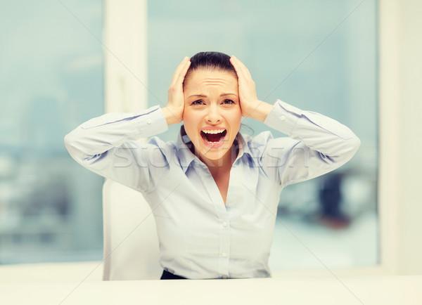 Foto stock: Enojado · gritando · mujer · de · negocios · oficina · negocios · estrés