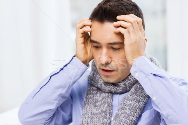 Uomo influenza mal di testa home Foto d'archivio © dolgachov