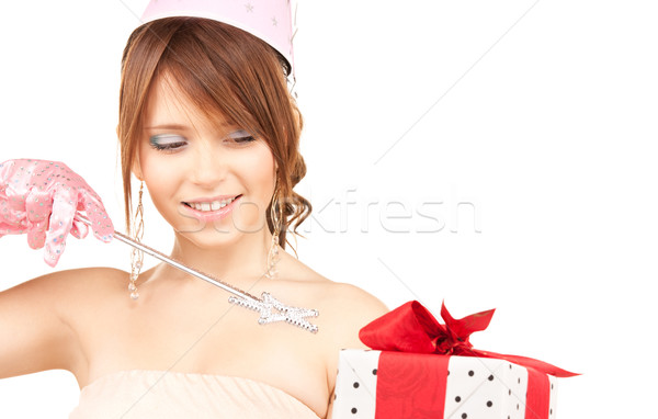 teenage party girl with magic wand and gift box Stock photo © dolgachov