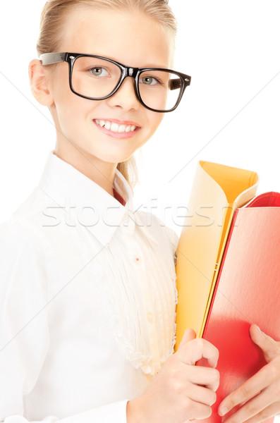 Stock fotó: általános · iskola · diák · mappák · kép · lány · gyermek