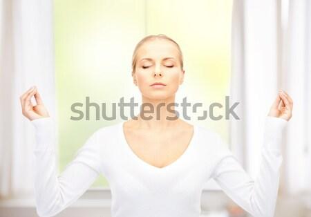 женщину медитации ярко фотография белый бизнеса Сток-фото © dolgachov