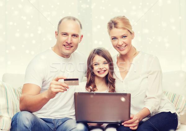 ストックフォト: 幸せな家族 · ラップトップコンピュータ · クレジットカード · 家族 · ショッピング · 技術