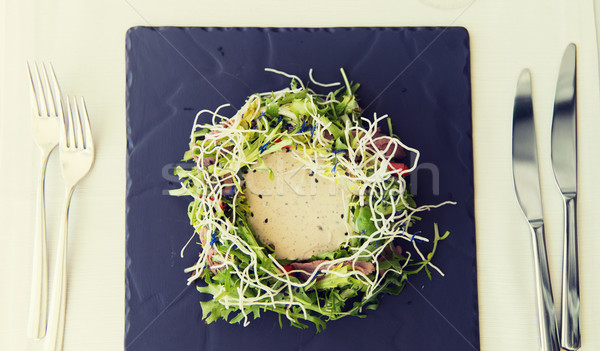 close up of poultry salad with sauce at restaurant Stock photo © dolgachov