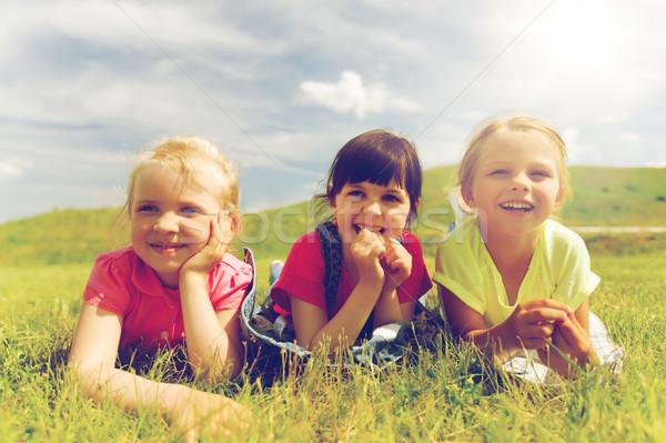 Stock fotó: Csoport · gyerekek · pléd · borító · kint · nyár