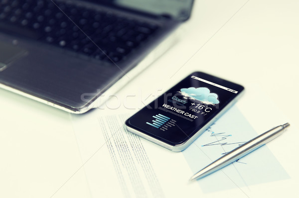 close up of smartphone with weather cast on screen Stock photo © dolgachov