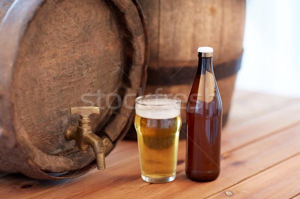 Photo stock: Vieux · bière · baril · verre · bouteille