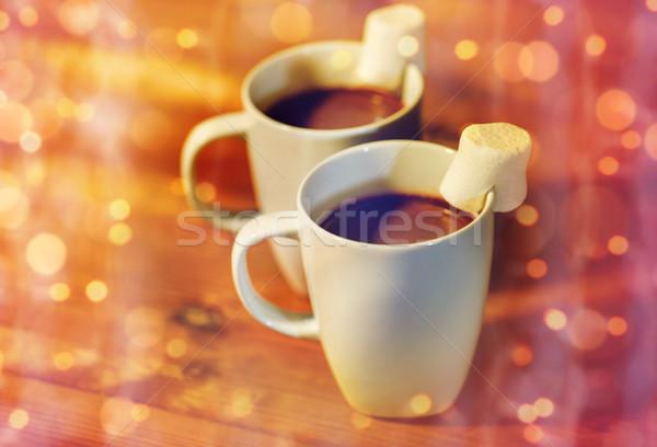 Csészék forró csokoládé mályvacukor fa ünnepek tél Stock fotó © dolgachov