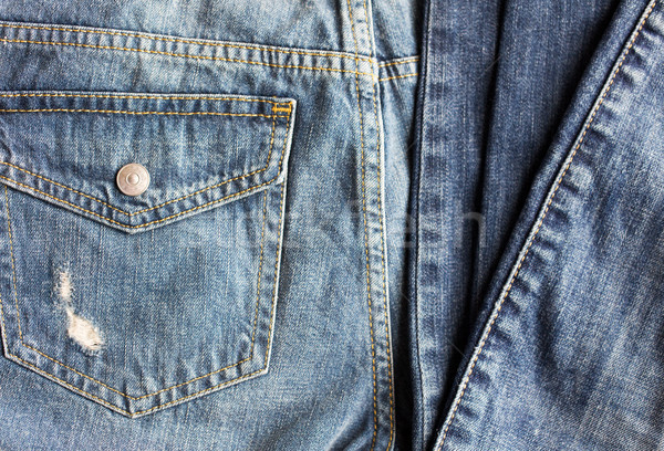close up of denim pants or jeans with pocket Stock photo © dolgachov