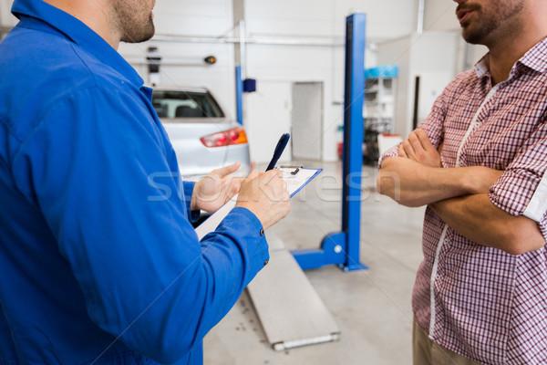 Photo stock: Mécanicien · automobile · presse-papiers · homme · voiture · magasin · Auto