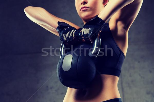 女性 ケトルベル ジム フィットネス スポーツ ストックフォト © dolgachov