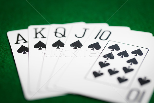 poker hand of playing cards on green casino cloth Stock photo © dolgachov