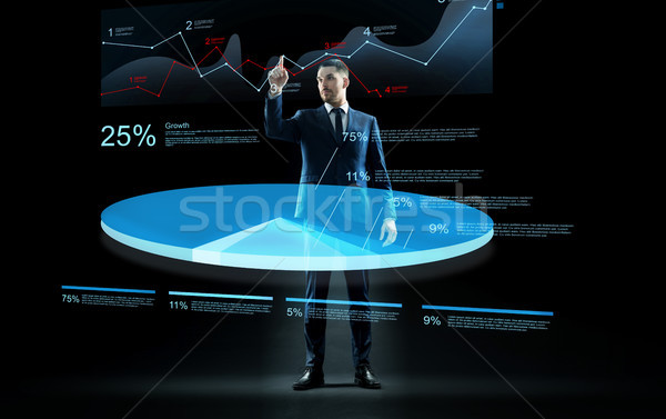üzletember dolgozik virtuális diagram hologram üzletemberek Stock fotó © dolgachov