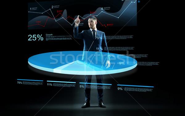 businessman working with virtual chart hologram Stock photo © dolgachov