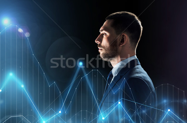 businessman in suit with virtual chatrs projection Stock photo © dolgachov