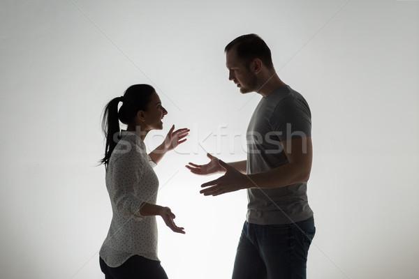Boos paar argument mensen relatie moeilijkheden Stockfoto © dolgachov