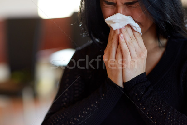 close up of crying woman at funeral in church Stock photo © dolgachov